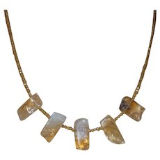 Natural Citrine Hand Strung Stick Bead Necklace