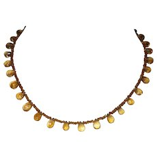 Hand strung Faceted Citrine Pear Briolette with AB Crystals