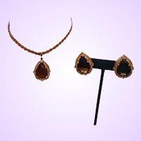 Signed Hattie Carnegie Necklace/Earrings