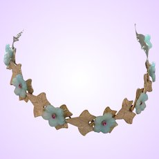 Signed Hobe' Necklace With  Blue Translucent Plastic Flowers