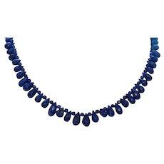 Hand Strung Lapis Briolette Necklace