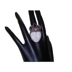 Goddess Face Silver, Amethyst and Citrine  Ring