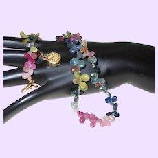 Hand Strung Sparkling Colored Teardrop Sapphire/Diamond Necklace