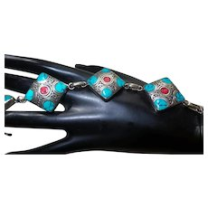 Vintage Inlaid Turquoise and Coral Bracelet