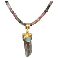 Hand Strung Multi Colored Tourmaline with Crystal Pendant