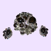 Juliana Faux  Hematite and Rhinestone. Brooch Set