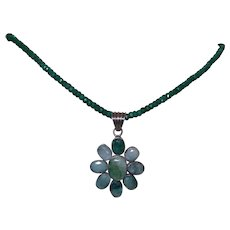 Hand Strung Natural Emerald Necklace with Pendant