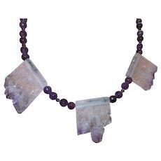 Hand Strung Amethyst Quartz Necklace