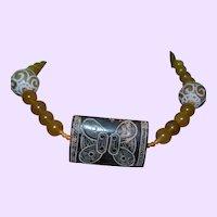 Hand Strung Gold Jade Necklace