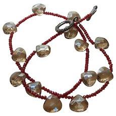 Hand Strung Trillion Cut Citrine Necklace