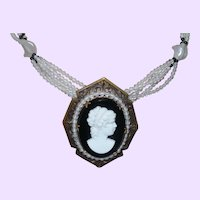 Signed Japan Five Strand Glass Bead Necklace with Cameo Pendant