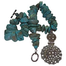 Hand Strung American Turquoise Necklace with Coptic Ethiopian Hinged Cross