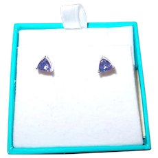 Trillion Cut Tanzanite White Gold Earrings