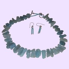 Hand Strung Rough Slab Cut Aquamarine Necklace