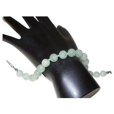 Vintage Blue Green Jade Bracelet on Silk Cord
