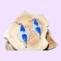Ethic Lapis Dangle Earrings Set in Silver Plate