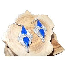 Ethic Lapis Dangle Earrings Set in Silver Plate