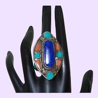 Ethnic Lapis, Coral and Turquoise Ring
