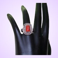 Ethnic Coral Ring set In Silver