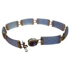 1960's Chinese Translucent Lavender Jadeite Amethyst Bracelet