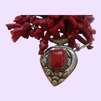 Hand Strung Dyed Red Branch Coral with Pendant