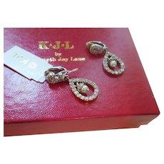 KJL  Rhinestone and Faux Pearl Dangle Earrings