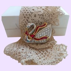 Signed Swarovski Swan with Bow Brooch