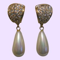 Signed Roman Faux Pearl Drop Earrings