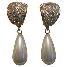 Signed Roman Faux Pearl Drop Earrings