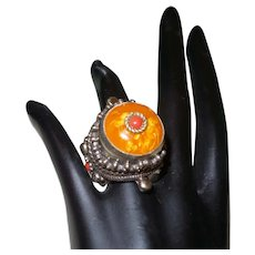 Ethnic Amber Ring With Coral