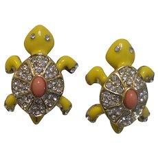 Figural Vintage Turtle Enamel Earrings