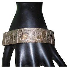 Vintage Gold Tone Etched Panel Bracelet