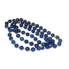 Vintage Lapis Lazuil 14 Karat Gold Bead Necklace