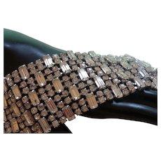 Huge  Clear Rhinestone Chunky Vintage Runway Bracelet