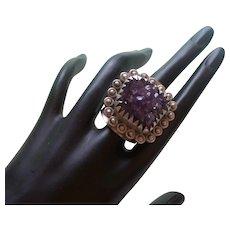 Vintage Amethyst Druzy Quartz Ring