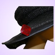 Edwardian Hat Pin with Large Red Glass Stone