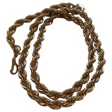 Vintage 14 Karat Gold Plate Rope Chain