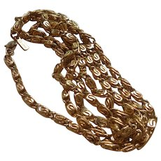 Signed Monet Gold Tone Rope Chain
