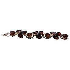 Schreiner Bracelet With Citrine Rhinestones