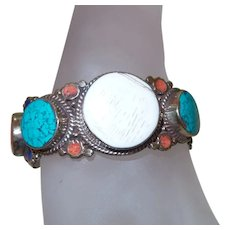 Ethnic Coral, Turquoise and Bone Clamper Bracelet