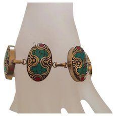 Ethnic Inlaid Turquoise and Coral Bracelet
