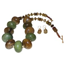 Dramatic Artisan  Jade Necklace with 14 Karat Gold Plate