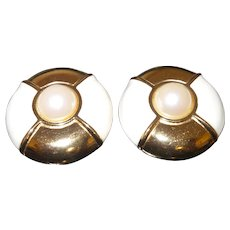 Signed Givenchy Large Faux Pearl and Enamel Earrings