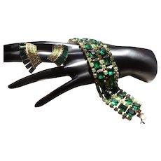 Gorgeous Green Rhinestone Bracelet and Earring Set