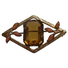 Victorian Brooch With Large Citrine Paste Stone