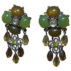 Vintage Faux Jade Dangle Earrings