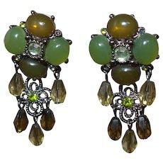 Vintage Faux Jade Dangle Earrings