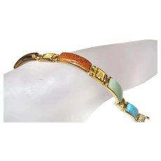 Vintage Jade and Semi Precious Stone Bracelet