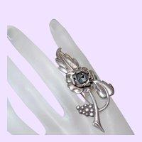 Signed Sterling Flower Motif Brooch