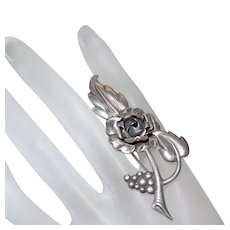 Signed Sterling Flower Motif Brooch